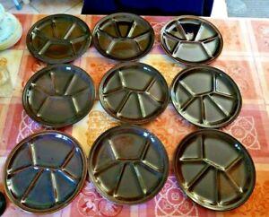 Lot de 9 assiettes à fondue GIEN, couleur brun fonçé