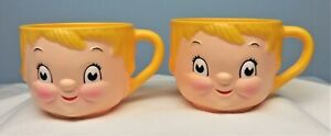 Vintage Dolly Dingle Campbell's Kids Lot of 2 Plastic Soup Milk Coffee Mug Cups
