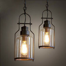 Rustic Clear Glass Cylinder Pendant Light Industrial Single Ceiling Fixtures