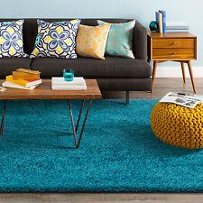 Teal Turquoise Aqua Blue Shag Shaggy Floor Rug Thick Soft Plush Modern Carpet