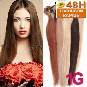 25/50/75/100 EXTENSION DE CHEVEUX POSE A CHAUD 100% NATUREL REMY HAIR 49-60CM 1G