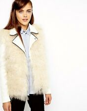 BNWT River Island Mongolian Faux Fur Cream/Natural Gilet - Size 10