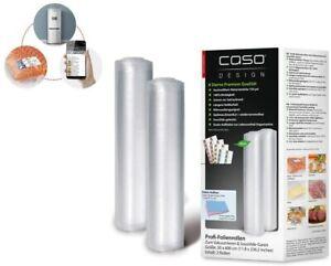 CASO Folienrollen 30x600cm Vakuumfolie Vakuum Beutel 2 Rollen für Vakuumierer