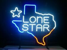 "New Texas Lone Star Neon Light Sign 17""x14"" Lamp Beer Pub Real Glass Artwork"