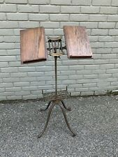 Mid-Century Oak & Cast Iron Library Dictionary Stand
