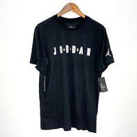 NWT Nike Air Jordan Black Spell Out Logo S/S Standard Dry-Fit Tee T-Shirt XL