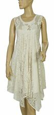 138919 New Abercrombie & Fitch Floral Pattern High Low Sleeveless Ivory Dress XS