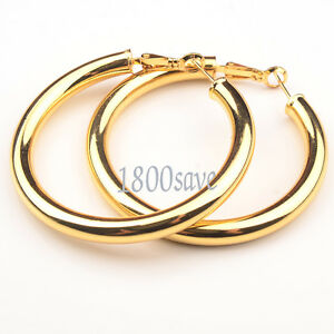 Women's 18K Yellow Gold Filled Fashion 5mm thick 2 inch Large Tube Hoop Earrings