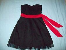 Black & Red Trim Boob Tube Dress Size UK 12