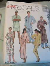 McCALLS 9089~size XL-XXL MISSES~MEN's robe~nightshirt~top~pull-on pants & shorts