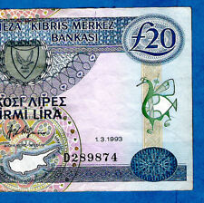 More details for rare 1.3.1993 issue cyprus p56b 20 pounds aphrodite sign afxentis afxentiou xf/a