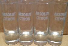 "ABSOLUT CITRON Set of 4 - 4"" Tall Frosted SHOT GLASSES w/Handles Shooter GLASS"