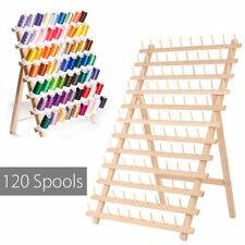 120 Spools Cone Holder Thread Wall Mount Rack Wood Sewing Room Organizer USA