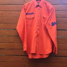 Vintage WRANGLER Logo Men's Spell Out Western Shirt Orange Blue Medium