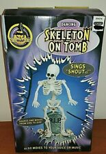 """1998 Gemmy Dancing """"Skeleton On Tomb"""" Lights Shakes To """"Shout"""" Brand New In Box"""