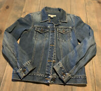 Abercrombie & Fitch Women's Long Sleeve Button Up Solid Blue Denim Jacket Sz: M