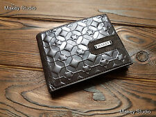 Genuine Fine Leather Man Wallets Geometrical Hand Tooled Money Clips Bifold