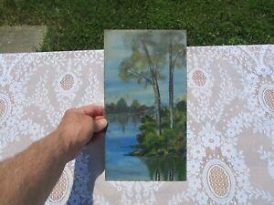 Antique Primitive Unframed Oil on Board Landscape Painting