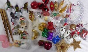 60+ Vintage/Used Christmas Tree Baubles Decorations 1970s+ Snowman Icicles Bears