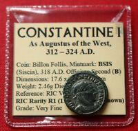 VF Rare Roman Coin 318AD Constantine I Billon Follis Victoria Siscia Genuine