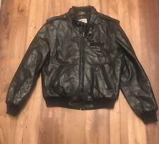vtg Members Only Genuine Leather Jacket Cafe Racing Mod Black 44 XL