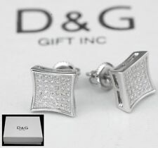 8mm Hip hop Square*Earring Unisex-Box Dg Men's Sterling Silver 925.Cz Ice-out