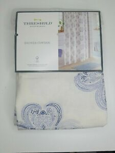 Threshold Woven Floral Fabric Shower Curtain Cream Blue 72in x 72in NWT