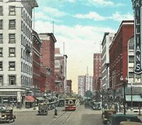 Vintage Cedar Rapids Iowa Street View Killians Autos Curt Teich Postcard 1931