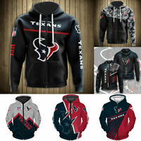 Houston Texans Hoodie Mens Casual Zipper Jacket Football Hooded Sweatshirt Coat