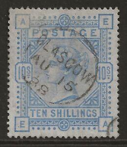 GB 1883 10/- VF used lovely GLASGOW cancel/postmark SG#183a cv£550+ super centre