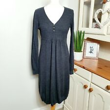 THE WHITE COMPANY (Large UK 12-14) Grey 100% Merino Wool Knitted Jumper Dress