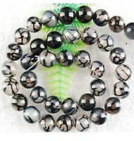 6mm 8mm 10mm 12mm Black Dragon Veins Agate Round Loose beads 15'