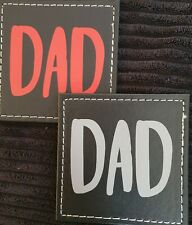 FATHERS DAY - 'DAD' FAUX LEATHER COASTER