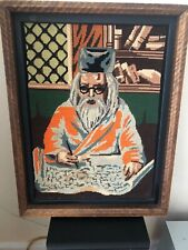 """New listing Vintage 50s Needlepoint Picture Of Confucius Rating On A Manuscript, 14"""" X 19"""""""