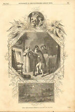 Christmas, Family, Dancing, Angels, Hearth, Vintage 1851 Antique Art Print,