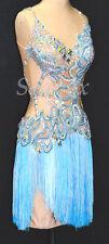 Fringe Competition Latin Rhythm Dance Dress US 8 UK 10 Skin Light Blue Fringing