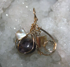 AMETHYST QUARTZ CRYSTAL & MOTHER OF PEARL 14 k Gold F Wire Wrapped Pendant