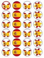 X24 SPANISH FLAG CUP CAKE TOPPERS BUTTERFLY & FLOWER THEME ON EDIBLE RICE PAPER