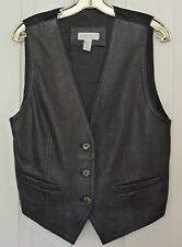 CLASSIC/BEAUTIFUL GENTLY WORN LORD & TAYLOR LEATHER FRONT VEST, GREAT CONDITION!