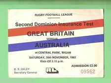 #D82.  1982  RUGBY LEAGUE TICKET - GREAT BRITAIN V AUSTRALIA, WIGAN