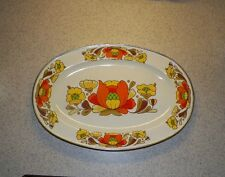 "VTG Enamelware Platter 18"" SANKO Japan Country Flowers  VERY PRETTY & CLEAN"