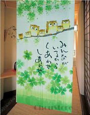 Happiness Owl Family Japanese Noren Doorway Curtain Room Divider Pub Hanging