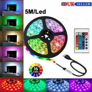 LED Strip Lights USB 1M-5M RGB Color 5050 Light TV Lighting UK