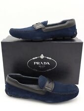PRADA Navy Blue Suede Black Saffiano Leather Trimmed Penny Driver Loafers 8