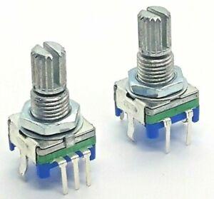 2 x EC11 Rotary Encoder 15mm Splined / Plum Push Switch 5 pin 2x gotek raspi