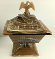 Imperial Caramel Brown Slag Covered Pedestal Candy Dish Eagle Lid