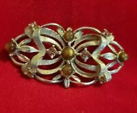 Vintage Hollywood Large silvertone Brown stones Brooch Pin Statement Piece