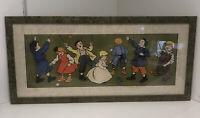 Framed Original Vintage Advertising Panel Children Playing by Andre Blandin