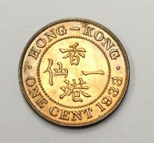 1933 Hong Kong ONE CENT Choice Uncirculated MS63 RB 60% red original & nice