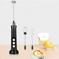 USB Rechargeable Milk Frother Mixer 2 Whisk Handheld 3-Speed Milk Foamer